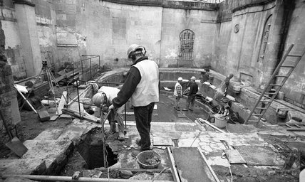 Excavating in the Cross Bath, 8 January 2001