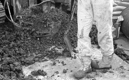 Study of the boots of a construction worker onsite, Thermae Bath Spa 8 February 2001