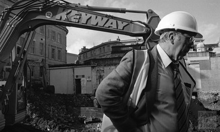 A construction worker on the site of Thermae Bath Spa 2000