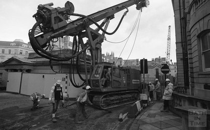 A drilling rig / cement pourer  arrives at the Thermae Bath Spa construction site, 8 January 2001