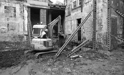 A digger on the site of Thermae Bath Spa, 8 December, 2000