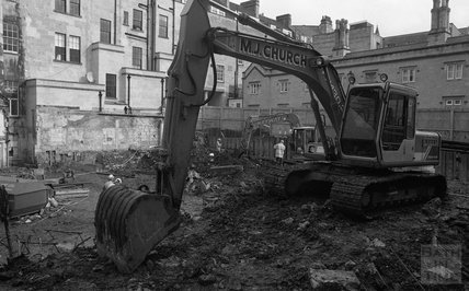 A digger on the site of Thermae Bath Spa 2000