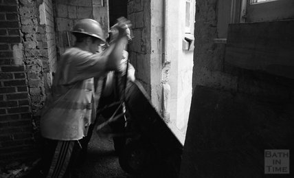 A construction worker at the Thermae Bath Spa construction site, 8 January 2001
