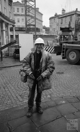 The intrepid photographer Carlo Chinca on the site of the Thermae Bath Spa, 17 March 2001