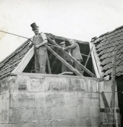 Repairing the roof of the Larkhall Inn, 1950s