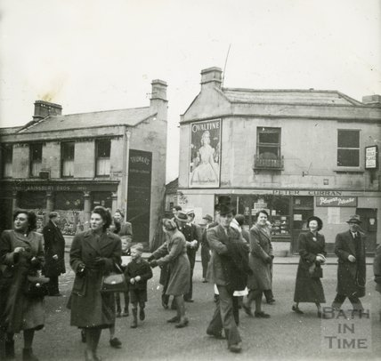 A group of people in Larkhall Square, 1950s