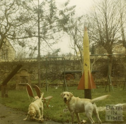 The Larkhall Inn pub garden, 1960s