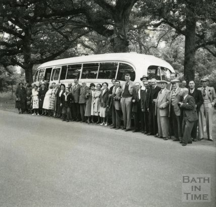 A group from the Larkhall Inn on an outing, c.1950s