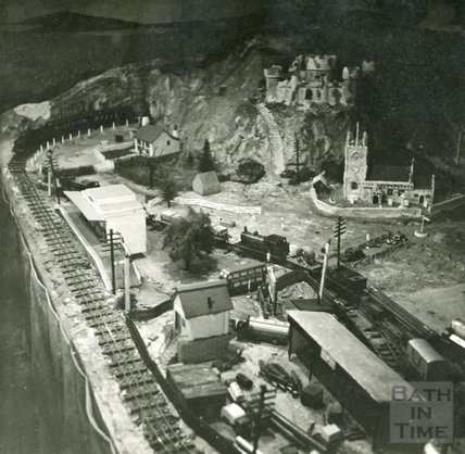 The model village of Larkhall from the Larkhall Inn, c.1956