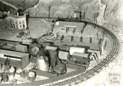 The model village of Larkhall from the Larkhall Inn, April 1956