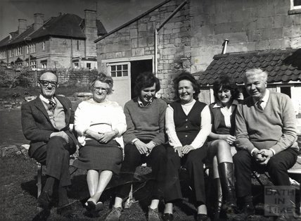 The landlord of the Larkhall Inn and family in the pub garden, 1960s
