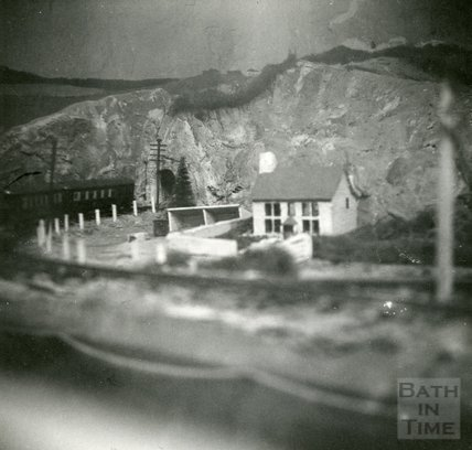 The model village and railway at the Larkhall Inn, c.1956