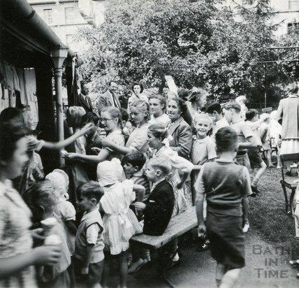 Children in the garden of the Larkhall Inn, July 1952