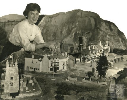The model village and railway at the Larkhall Inn, August 1958