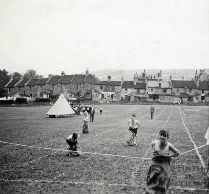 Sack race in the playing fields in Larkhall, 1950s