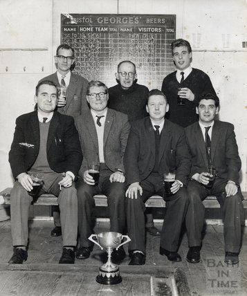The Larkhall Inn skittles team in the skittles alley, early 1960s