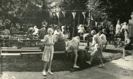 In the back garden of the Larkhall Inn, around 1950