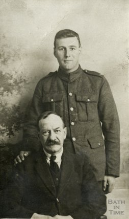 Portrait of an First World War army man (standing) with someone else, c.1915