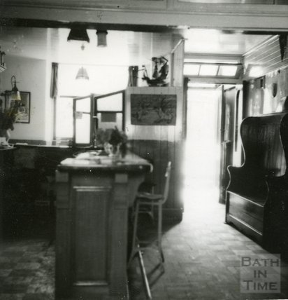 The interior of the Larkhall Inn, 1950s