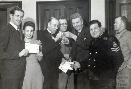 A presentation at the Assembly Rooms to people from the Larkhall Inn, March 1947