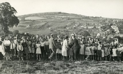 Children at the Larkhall Sports Day in the playing fields, 1950s