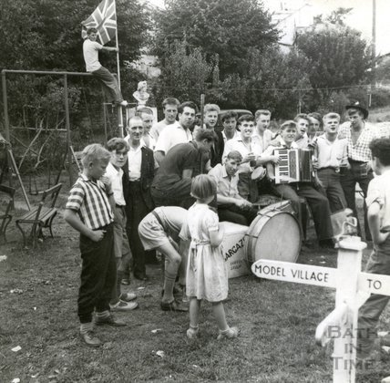 A skiffle band in the garden of the Larkhall Inn, August 1957