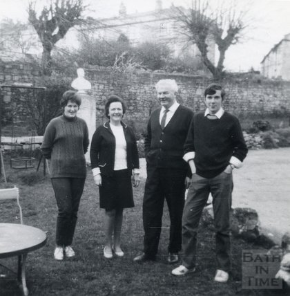 Landlord Tom Harper of the Larkhall Inn and family in the pub garden, 1960s