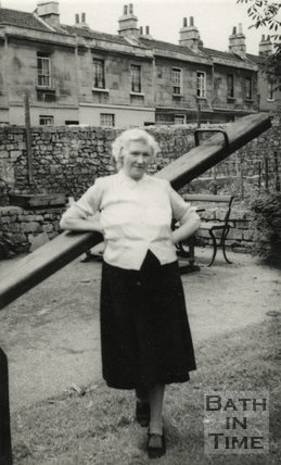 Ellen Harper, landlady of the Larkhall Inn in the pub garden, c.1950