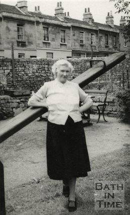 Ellen Harper, landlady of the Larkhall Inn in the pub garden, c.1950