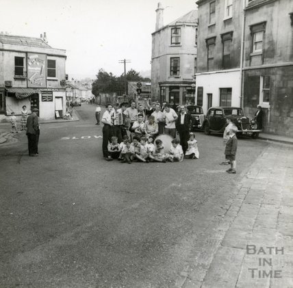 Skiffle Band sitting in the road at Larkhall Square, August 1957