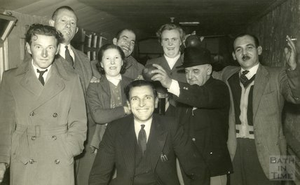 A merry group of skittles players at the Larkhall Inn, 1950s