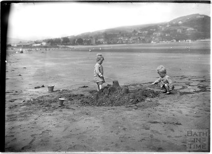 The photographer's twins on the beach at Minehead, Somerset , c.July 1913