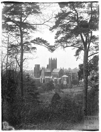 View of Wells Cathedral from Tor Hill c. 1920s