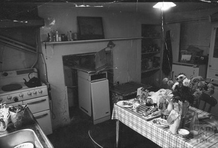 The kitchen on the ground floor of 12 Darlington Place 1975