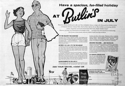 Have a spacious, fun-filled holiday at Butlins in July, 1961