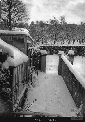 The snowy front garden of No 12 Darlington Place, 6 March 1947
