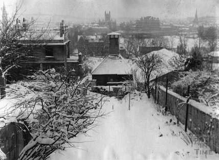 The snowy back garden of 12 Darlington Place, March 1947