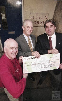 Ian Sutherland receiving a cheque for Julian House 18 November 1999