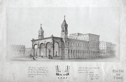 View showing an alteration to the West Front for the Royal Exchange, London, 1839