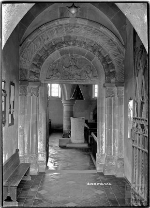 Norman archway, St Peter's Church, Siddington, near Cirencester, Glos c.1910