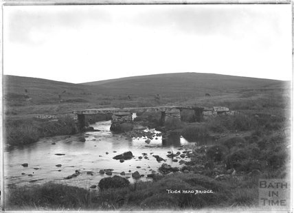 Teign Head Clapper Bridge, Dartmoor, Devon 1906