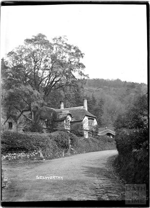 Thatched cottage, Selworthy, near Minehead, Somerset, c.1912
