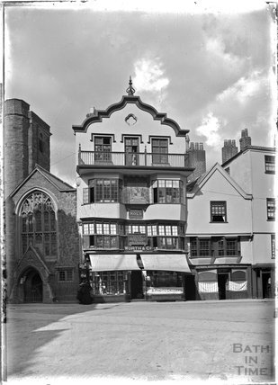 Worth & Co photographic shop, beside Exeter Cathedral, Devon c.1905