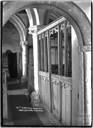 Inside Inglesham Church of St John the Baptist, Swindon, Wiltshire, c.1910