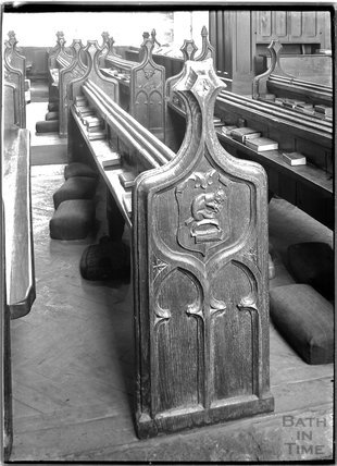 Carved Benchend, St Michael's Church, North Cadbury, Somerset c.1910