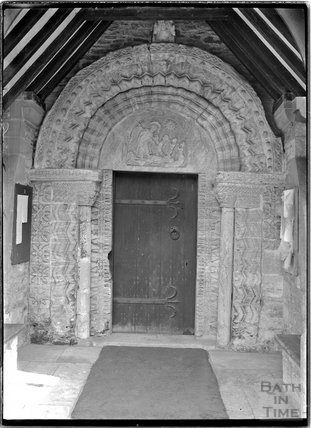 Norman doorway, St Swithun's Church, Quenington, near Cirencester, Glos c.1910