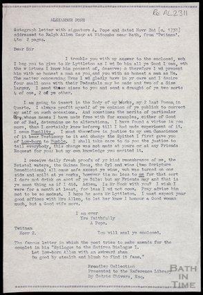 Transcription of letter from Alexandar Pope to Ralph Allen c.1738