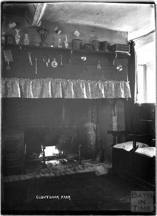Fireplace at Cloutsham Farm, near Minehead, Somerset, 1909