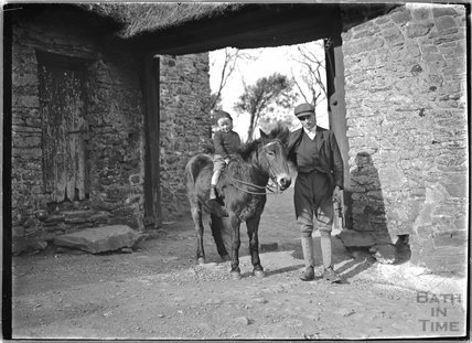 Horse, jockey and groom, Cloutsham Farm, near Minehead, Somerset, 1909