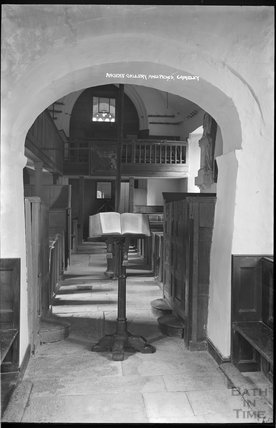 Ancient gallery and pews, Church of St James, Camely, Somerset c.1930s